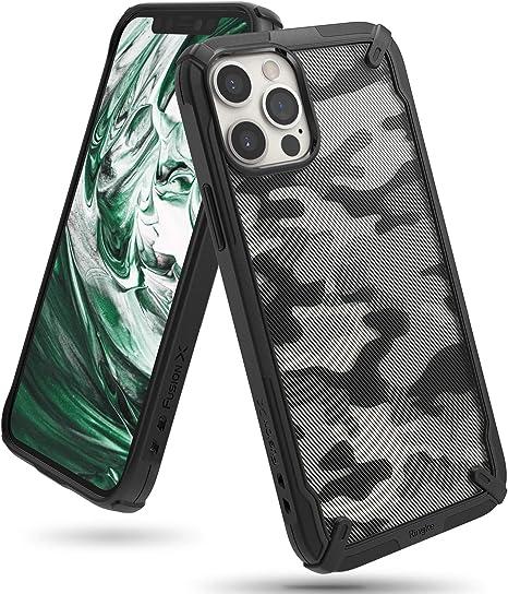 Ringke Cover Fusion-X Compatibile con iPhone 12 PRO Max, Custodia Paraurti Antiurto - Camo Black
