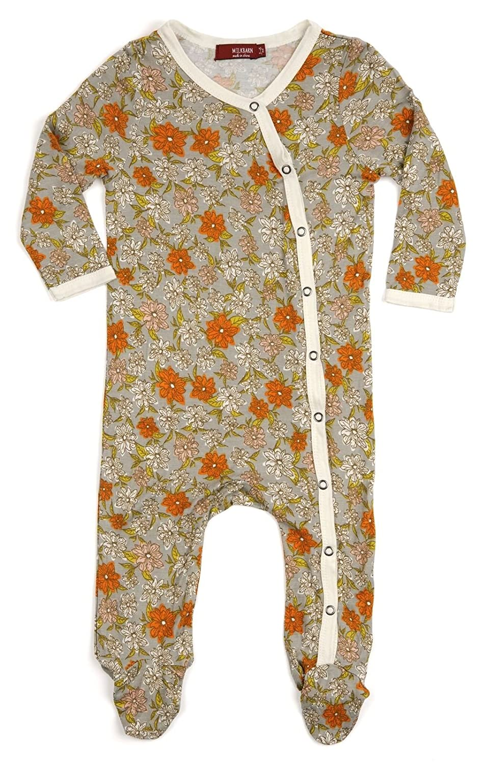 3-6 Months MilkBarn Bamboo Footed Romper Grey Floral