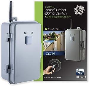 GE Enbrighten Z-Wave Plus 40 Amp Smart Switch, Indoor/Outdoor Rated 120-277V, Energy Monitoring, Range Extender, Zwave Hub Required, Works with SmartThings, Wink, Alexa, 14285, Metal (Renewed)