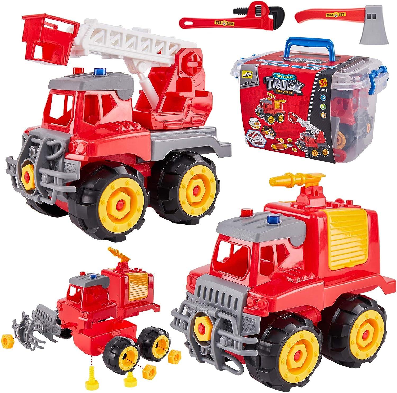 HERSITY 2 Piezas Camion de Bomberos Desmontar y Ensamblar Juguete Coches de Construccion Juguetes con Herramientas Juego Educativo Regalos para Niños 3 4 5 6 Años