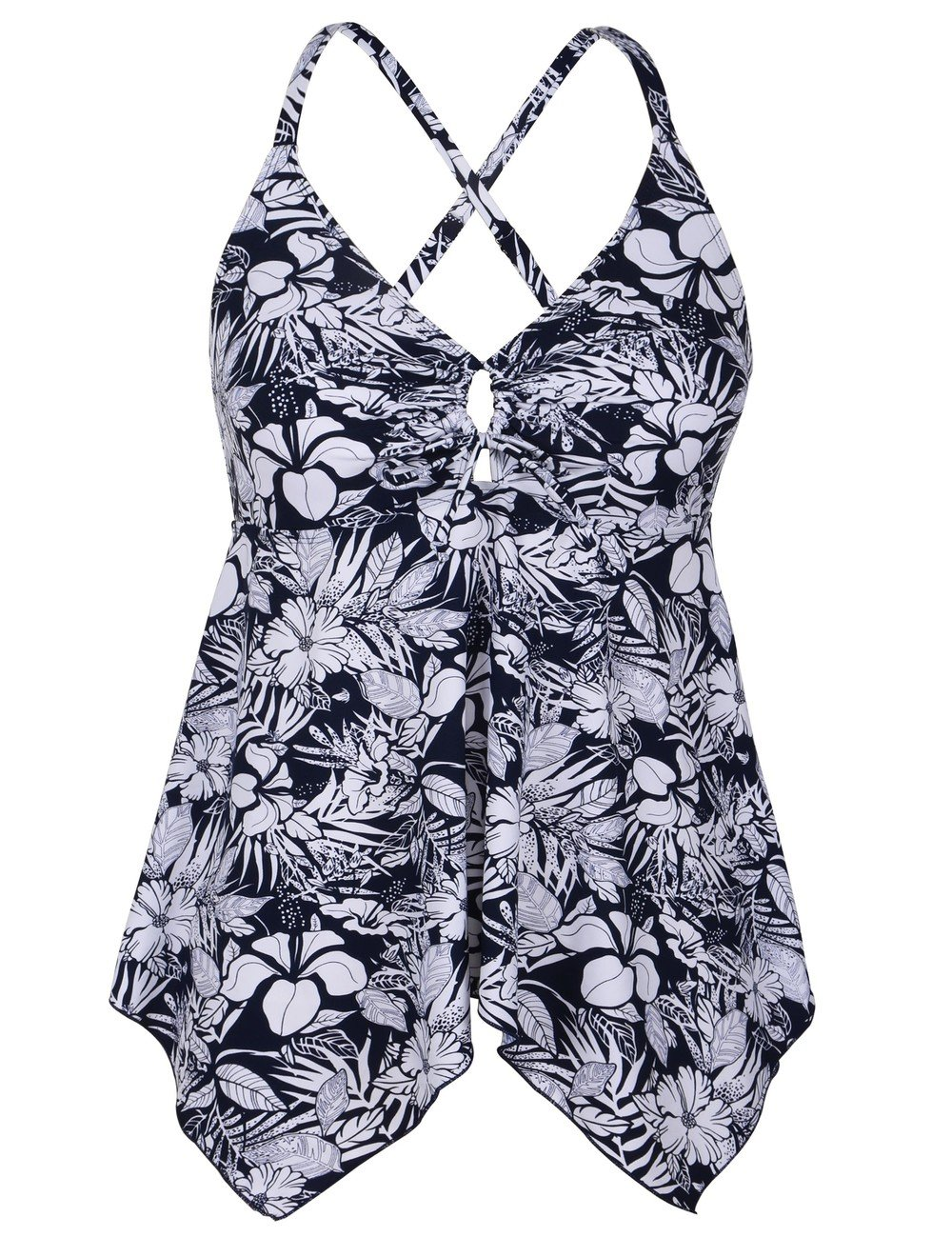 Firpearl Women's Black Floral Flowy Swimsuit Crossback Plus Size Tankini Top US16 White Blue Floral