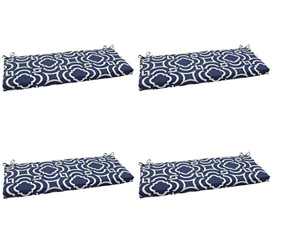Amazon.com : Pillow Perfect Indoor/Outdoor Carmody Bench Cushion, Navy (Pack of 2) : Garden & Outdoor