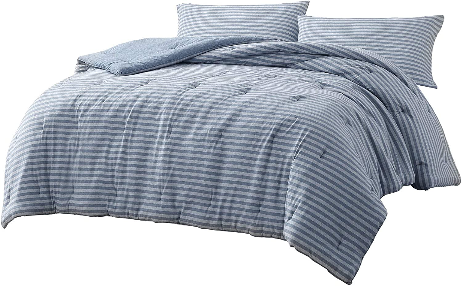 Chezmoi Collection Levi 2-Piece Striped Heather Jersey Knit Cotton Comforter Set - Solid Reversible Lightweight Super Soft and Breathable Bedding Set (Twin, Shadow Blue/Gray)