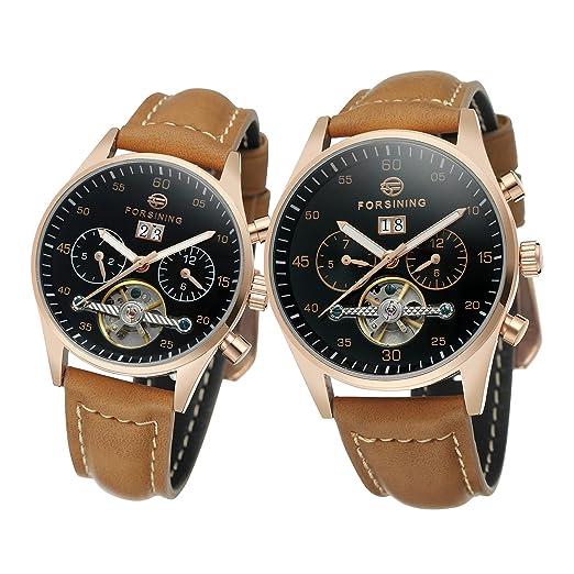 Forsining pareja relojes automático Self-winding día calendario correa de cuero marca reloj de pulsera, colección Fsg/l691 m3b1: Amazon.es: Relojes