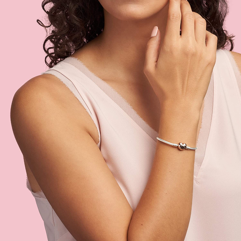 PANDORA Jewelry Moments Heart Clasp Snake Chain Rose Bracelet