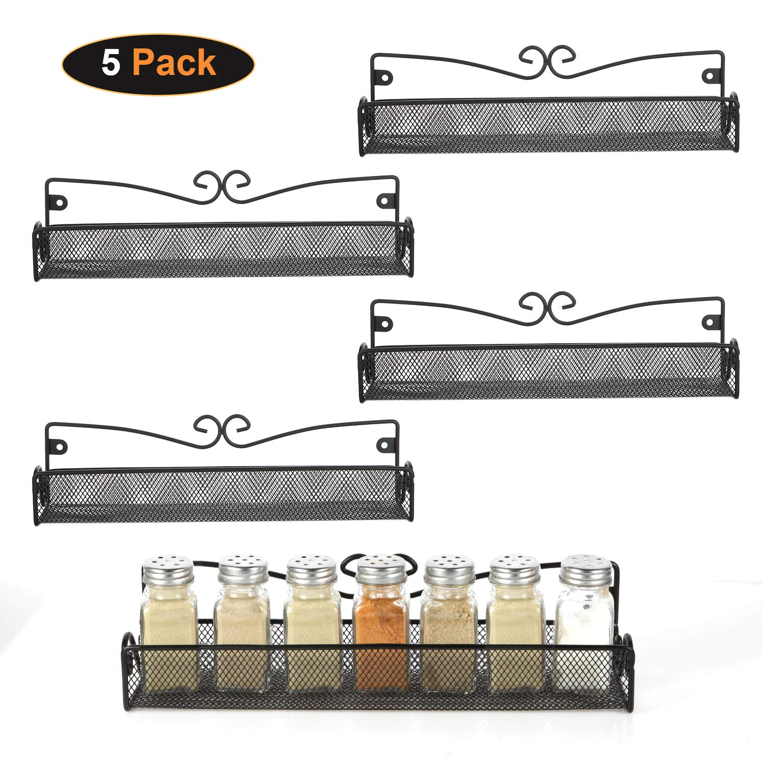 5 Pack Wall Mount Spice Rack Organizer for Cabinet Door Pantry Hanging Spice Shelf Storage,Black by 6D