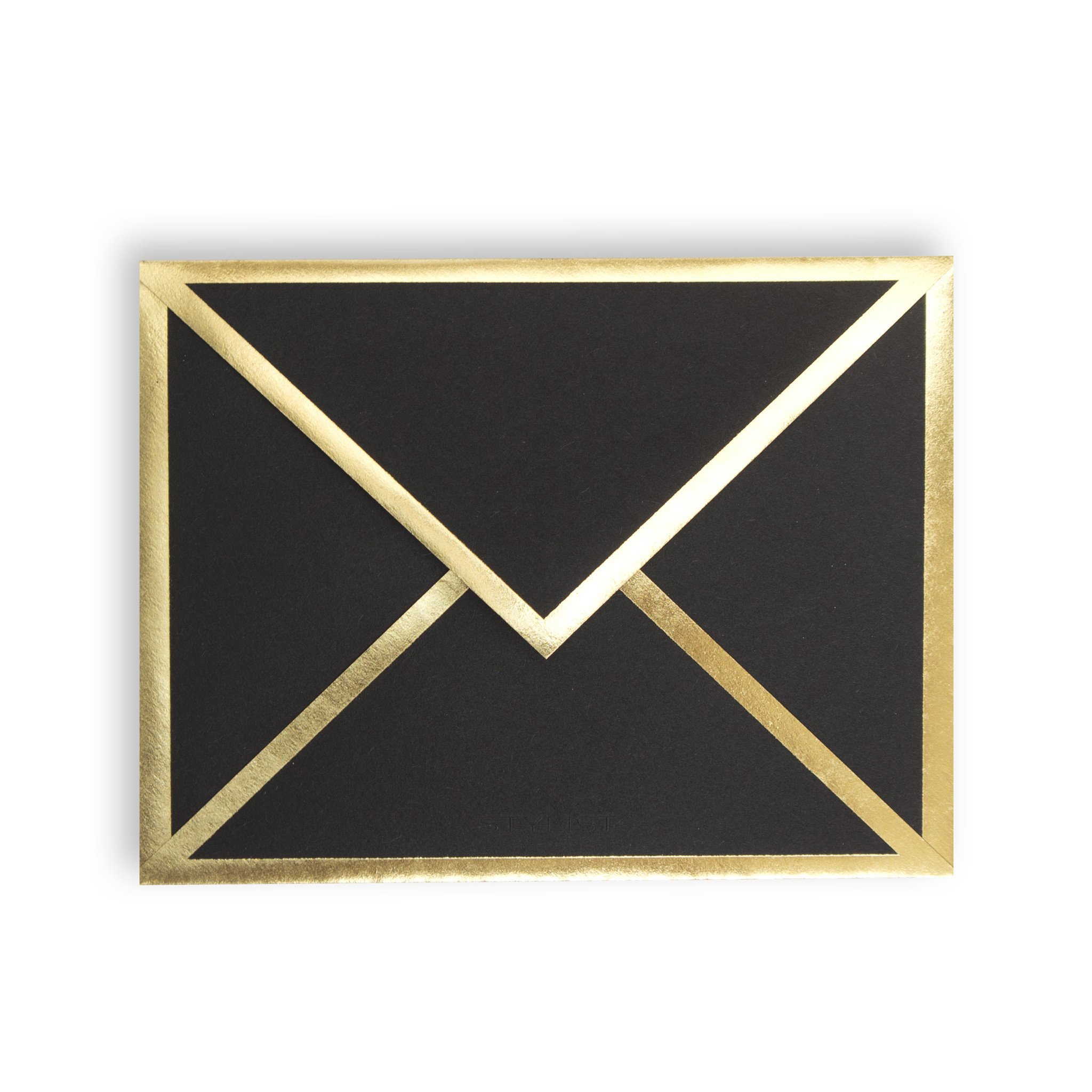 Stylist Paper - 4.25'' x 5.5'' - (6) Blank Black Cards with Gold Foil Border & Envelopes - Made in USA - Eco-Friendly FSC Certified