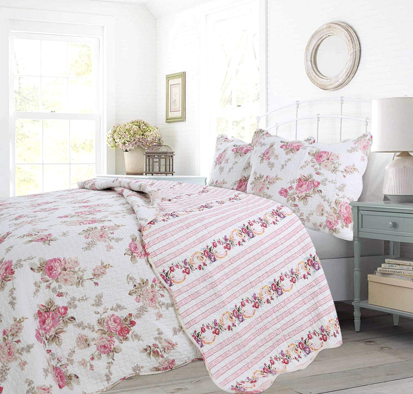 Cozy Line Home Fashions Floral Peony Quilt Bedding Set, Shabby Chic Pink Ivory Flower Printed 100% Cotton Reversible Coverlet Bedspread Romantic Gifts for Women Girl (Pink,Queen - 3 Piece)
