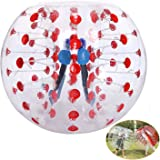 Inflatable Bumper Ball TPU Transparent Human Knocker Zorb Ball Bubble Soccer for Adults and Child 1.2M Diameter [US STOCK] (Red)