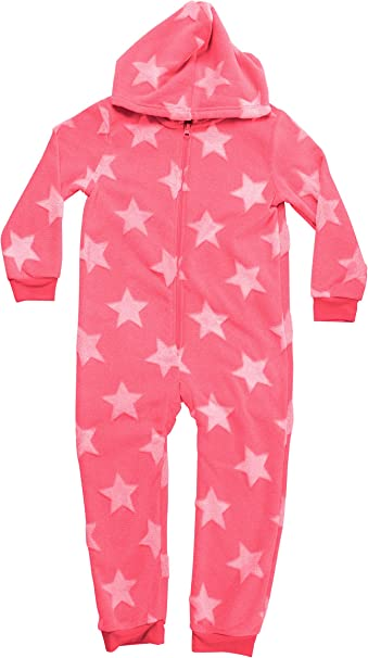 Gimbles/® Infant Girls Christmas Pjs Onezee Fleece Hooded All in One Soft Zip Jumpsuit Aquarium Seahorse Sea Shells Sleepsuit 2-6 Yrs