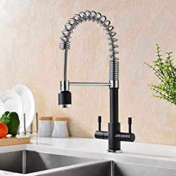 gicasa upgrated version solid brass double lever mono kitchen sink taps mixer pull down all - Brass Kitchen Sinks