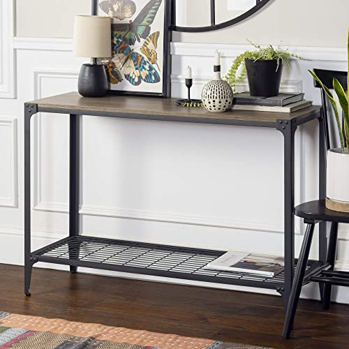 Walker Edison Declan Urban Industrial Angle Iron and Wood Entry Table