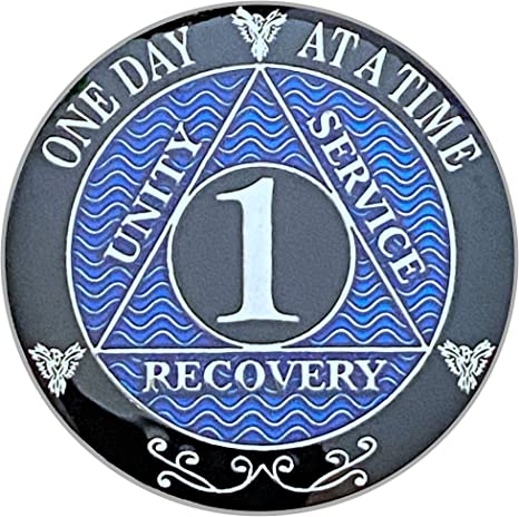 22 Year Blue Alcoholics Anonymous Sobriety Key Chain