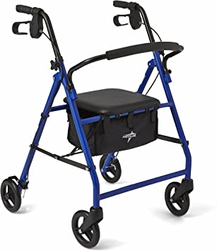 Amazon.com: Medline - Andador plegable de acero con ruedas ...