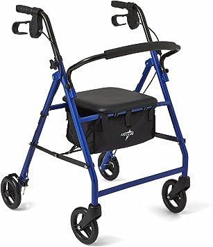 Amazon.com: Medline - Andador plegable de acero con ruedas ...