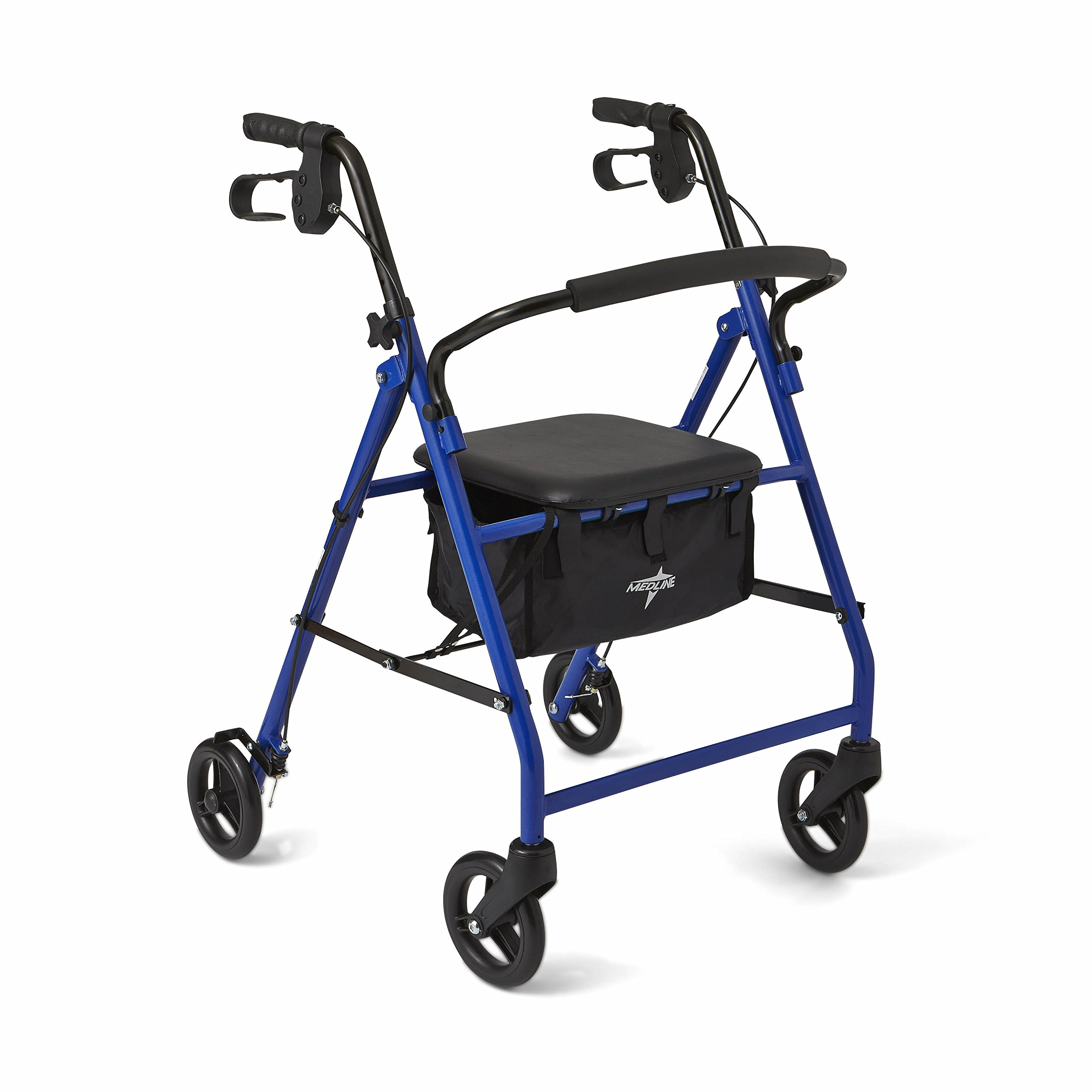 Medline Steel Foldable Adult Transport Rollator Mobility Walker with 6'' Wheels, Blue by Medline