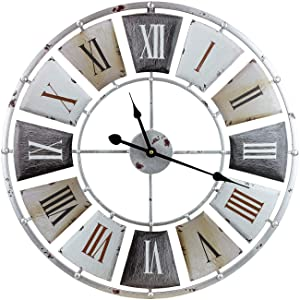 "Sorbus Wall Clock, Centurion Roman Numeral Hands, Vintage Industrial Rustic Farmhouse Style Home Décor, Analog Wood Metal Clock, 24"" Round"