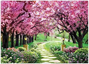 Funnytree 7x5FT Spring Backdrop Flower Tree Garden Path Landscape Background Wedding Baby Shower Birthday Party Decor Banner Supplies Studio Photography Photo Booth Prop Gift
