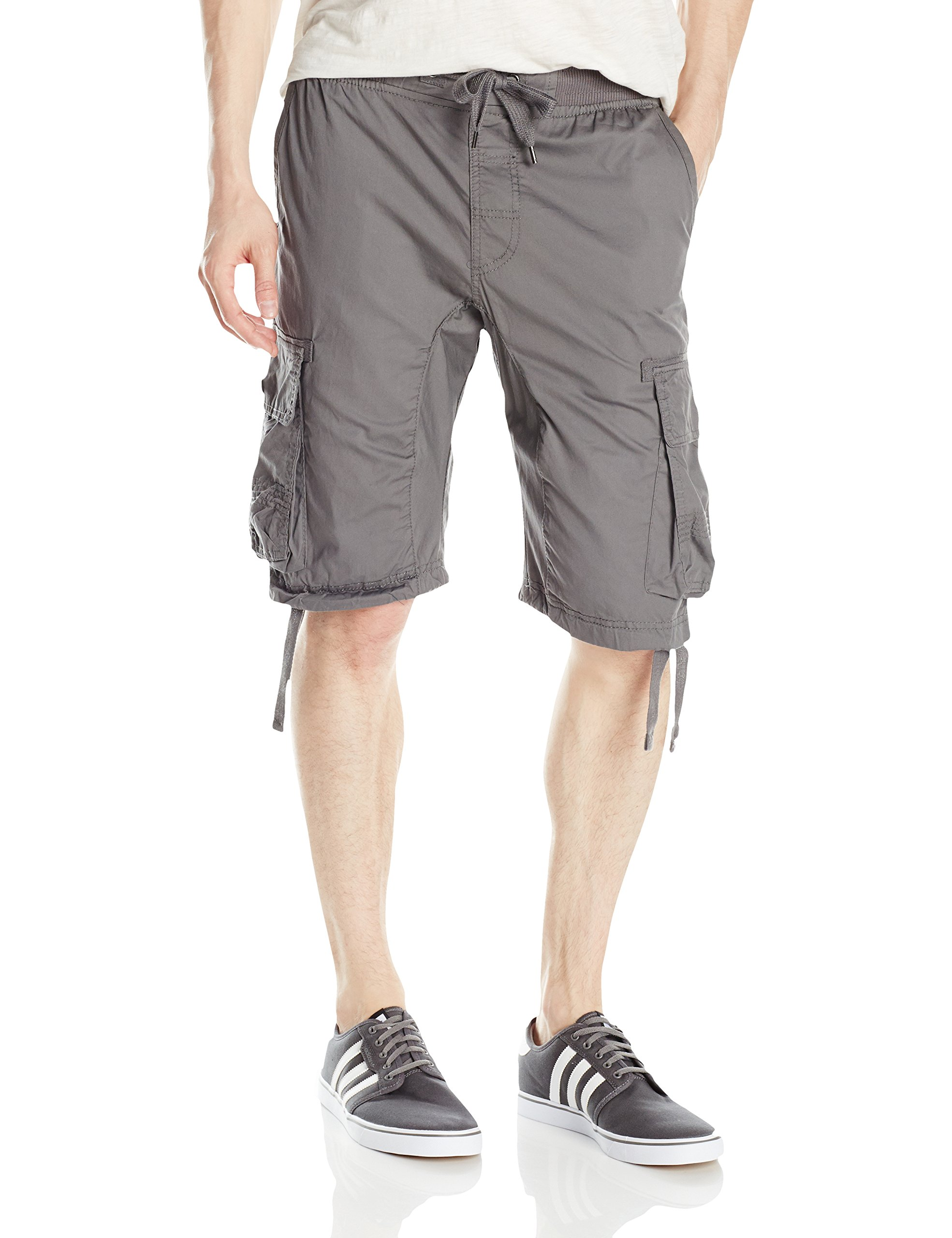 Southpole Men's Jogger Shorts with Cargo Pockets in Solid and Camo Colors, Dark Grey(New), X-Large