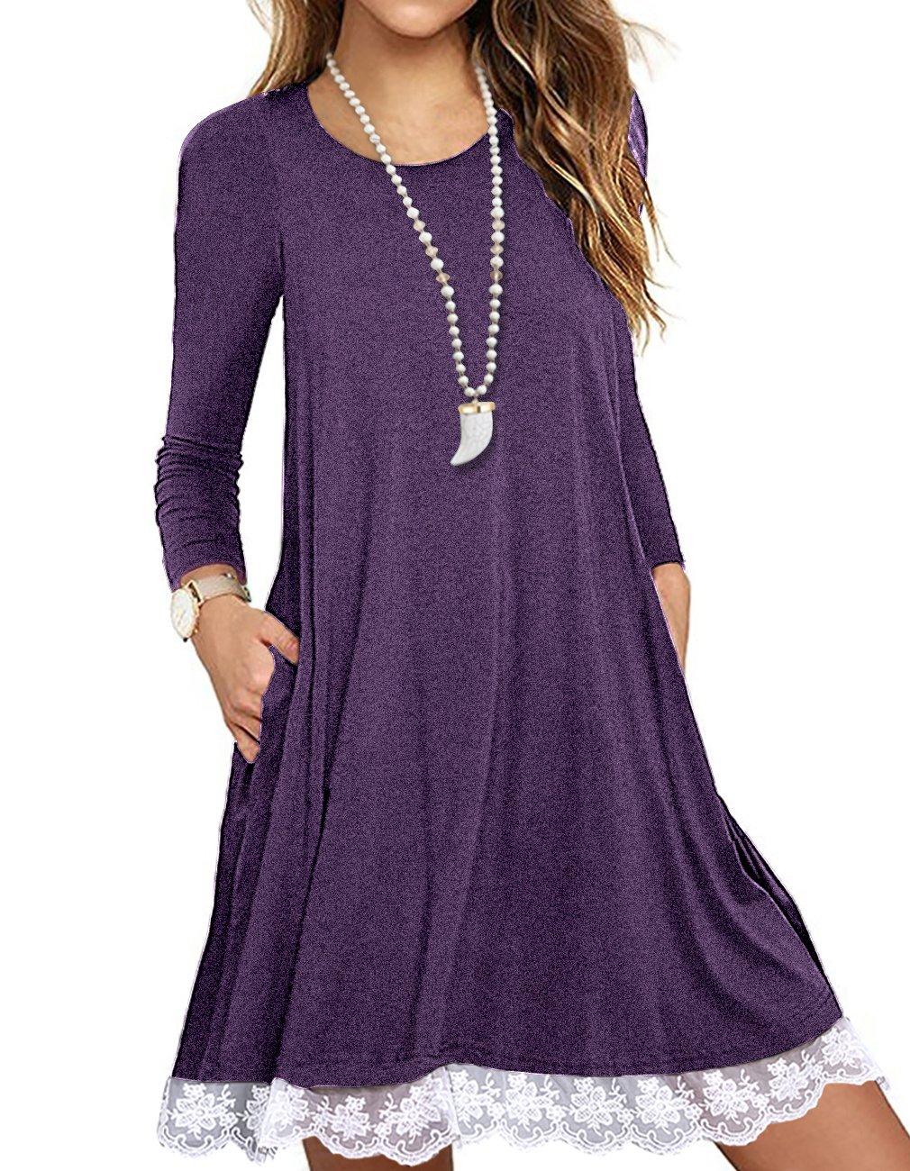 Sanifer Women's Long Sleeve Cotton Lace T Shirt Dress with Pockets (XX-Large, Purple)