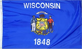 product image for Annin Flagmakers Model 145960 Wisconsin State Flag 3x5 ft. Nylon SolarGuard Nyl-Glo 100% Made in USA to Official State Design Specifications.