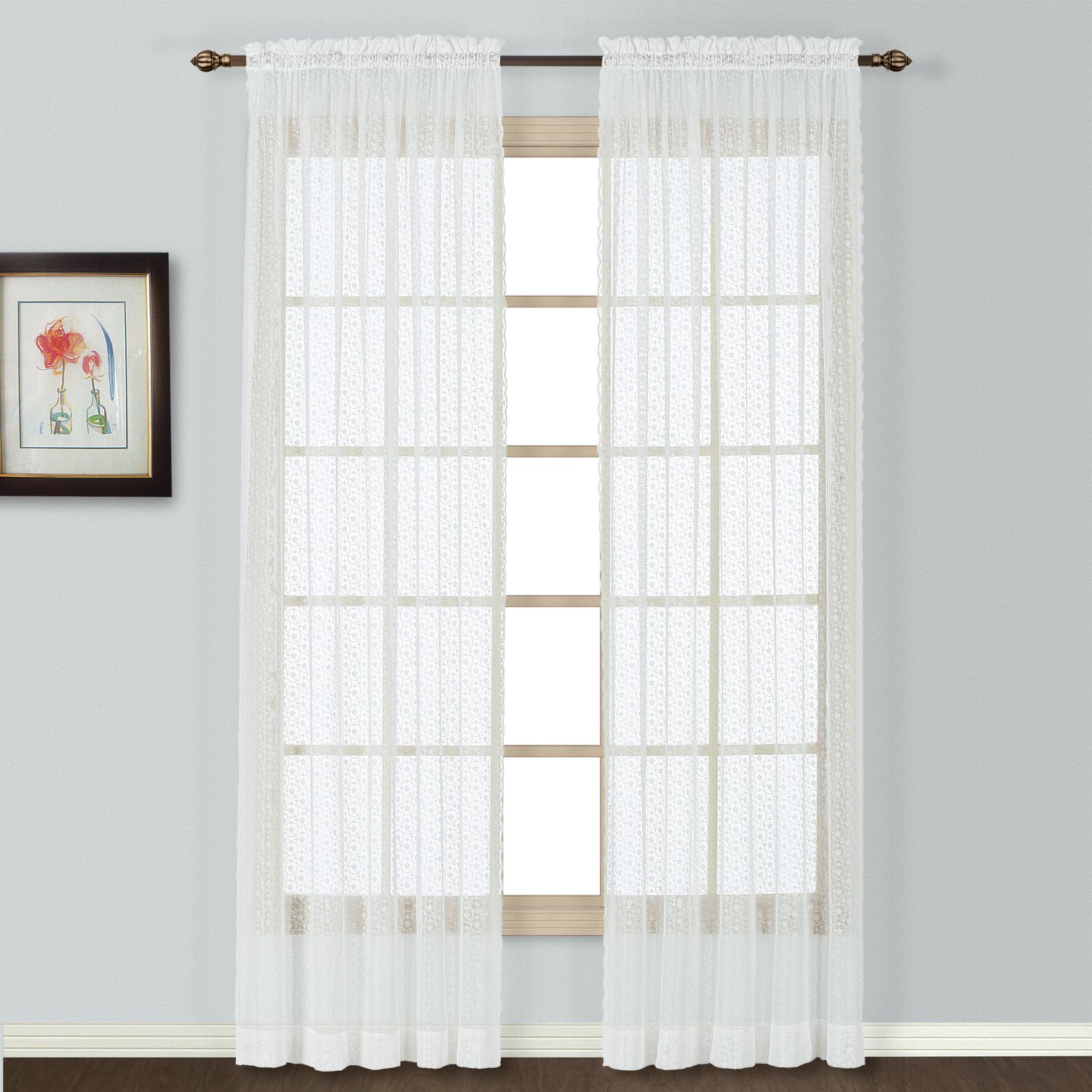 White CLT84WH United Curtain Charlotte Window Curtain Panel 56 by 84-Inch