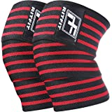 RitFit Knee Wraps (pair)-Ideal for Squats, Powerlifting, Weightlifting, Cross Training WODs & Gym Workout - Compression&Elastic Support - For Men & Women - Bonus Carry Case