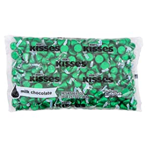 HERSHEY'S KISSES Bulk Milk Chocolate Pride Candy, 4.1 Pounds, Dark Green Foils, ~400 Pieces