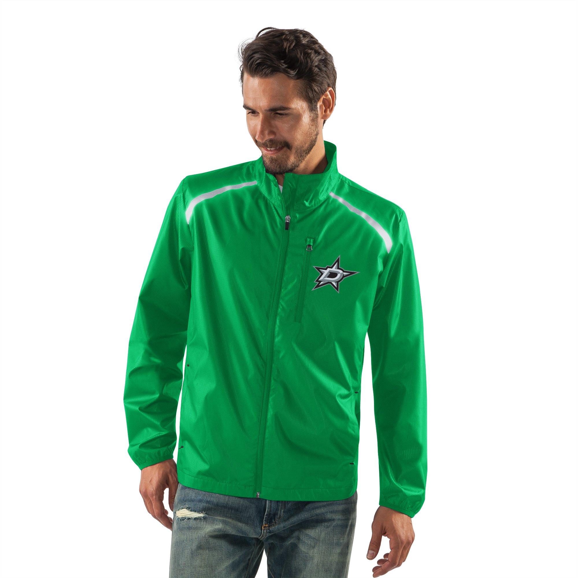 G-III Sports NHL Dallas Stars Men's Storm Full Zip Packable Jacket, Large, Green
