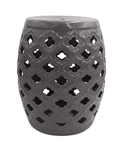 Cool Ravenna Home Traditional Moroccan Ceramic Garden Stool Or Side Table 16 H Grey Machost Co Dining Chair Design Ideas Machostcouk