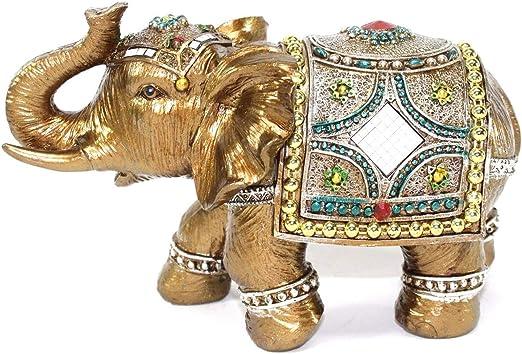 "Feng Shui Light Gold 7/"" Large Elegant Elephant Trunk Statue Gift Home Decor"