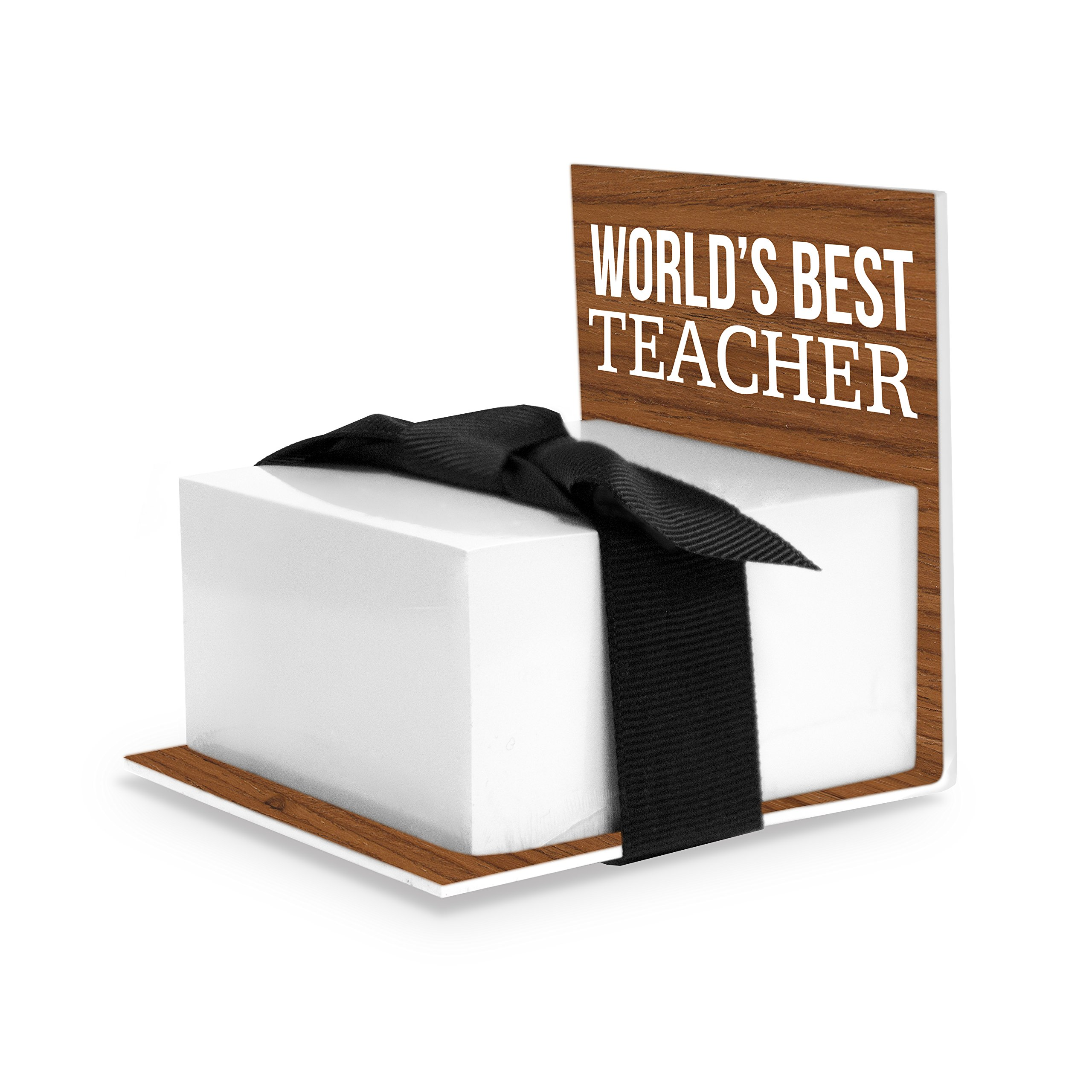 Sticky Notes Holder, Worlds Best Teacher, Brown (Best Teacher Gift)
