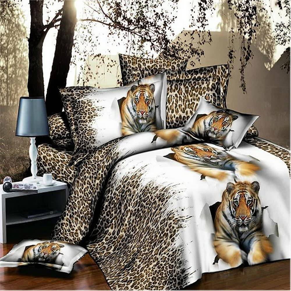 Home Textile,3D Bedding Sets Queen,Cheetah Print Bedding Set,Mens Bedding Sets,Tiger Print Bedding