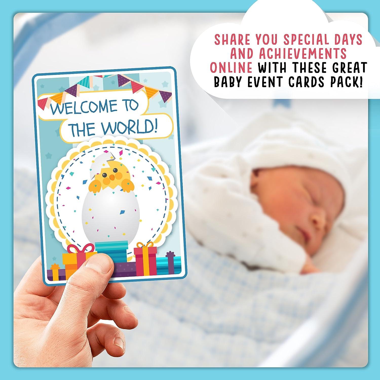 Lot de 40 cartes illustr/ées color/é avec jolie bo/îte cadeau B/éb/é Milestone Cartes de cas Id/éal pour cadeau de b/éb/é ENGLISH baby shower Cadeau