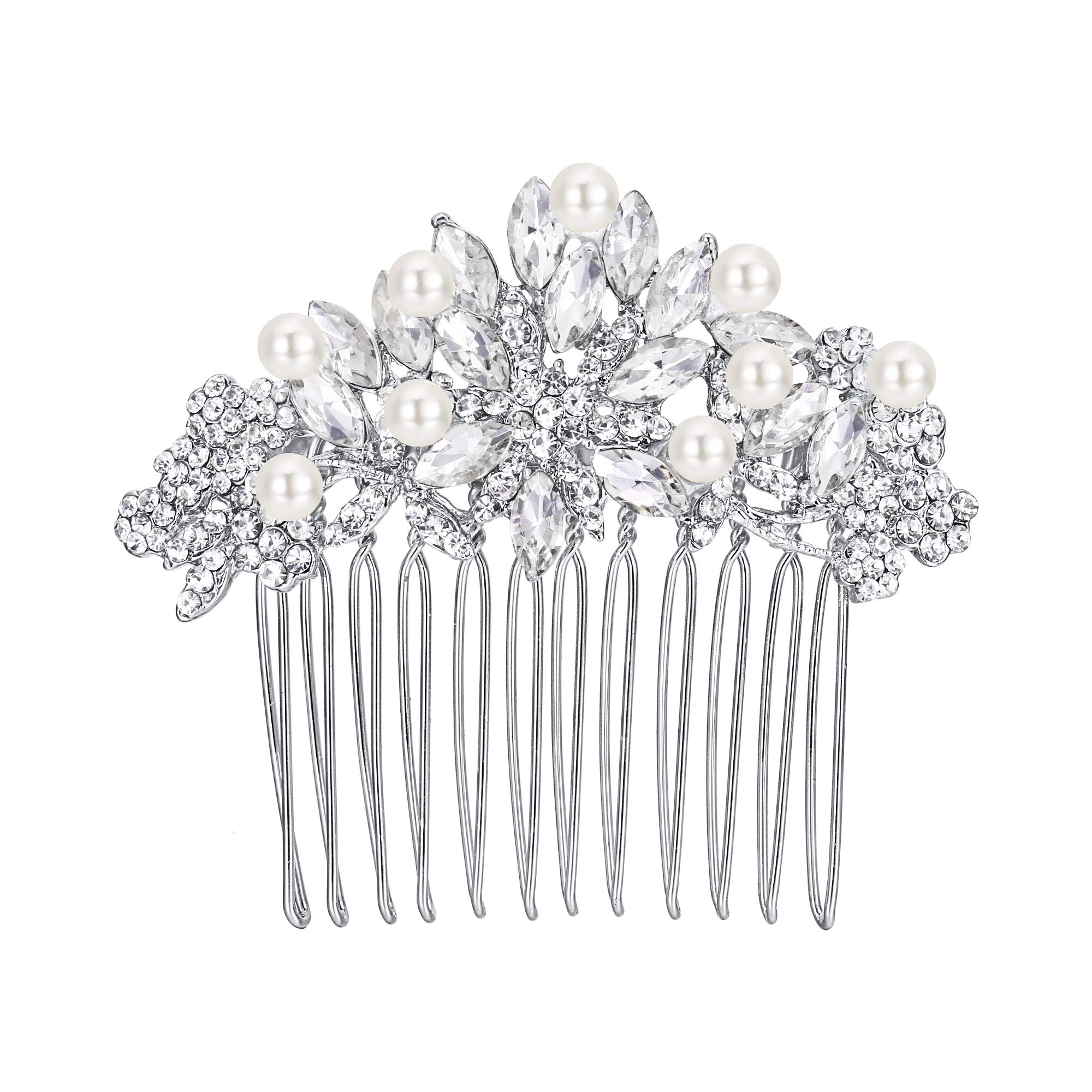 EVER FAITH Silver-Tone Austrian Crystal Cream Simulated Pearl Bridal Lots Leaves Flowers Hair Comb Clear by EVER FAITH