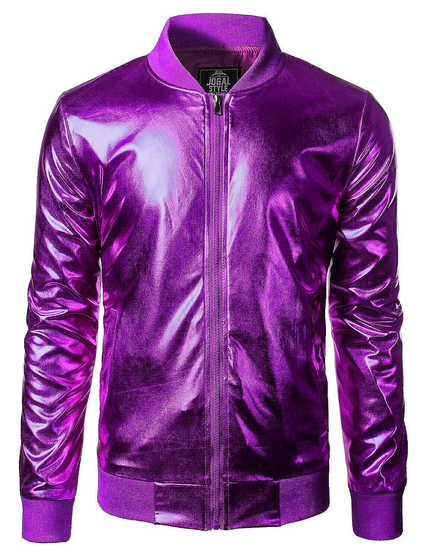 JOGAL Mens Metallic Party Costume Varsity Bomber Jacket