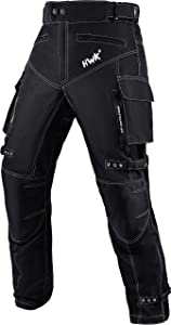 Motorcycle Pants for Men Dualsport Motocross Motorbike Pant Riding Overpants Enduro Adventure Touring Waterproof CE Armored All-Weather (Waist40''-42'' Inseam32'') Black