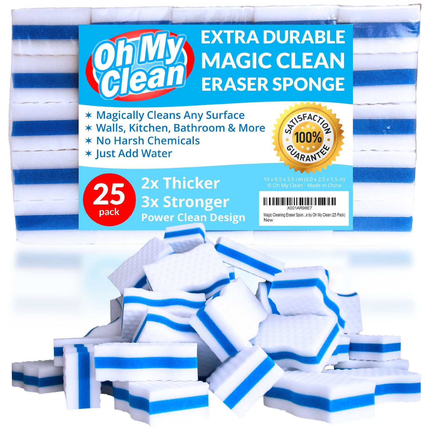 (25 Pack) Extra Durable Magic Cleaning Eraser Sponge - 2x Thick, 3x Stronger Melamine Sponges in Bulk - Multi Surface Power Scrubber Foam Pads - Bathtub, Floor, Baseboard, Bathroom, Wall Cleaner Oh My Clean