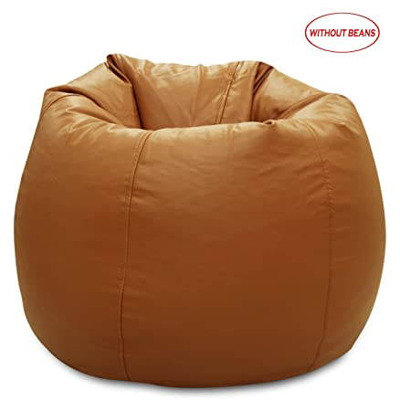 StoryHome XXL Leatherite Single Seating Bean Bag Chair Cover Without Beans Tan