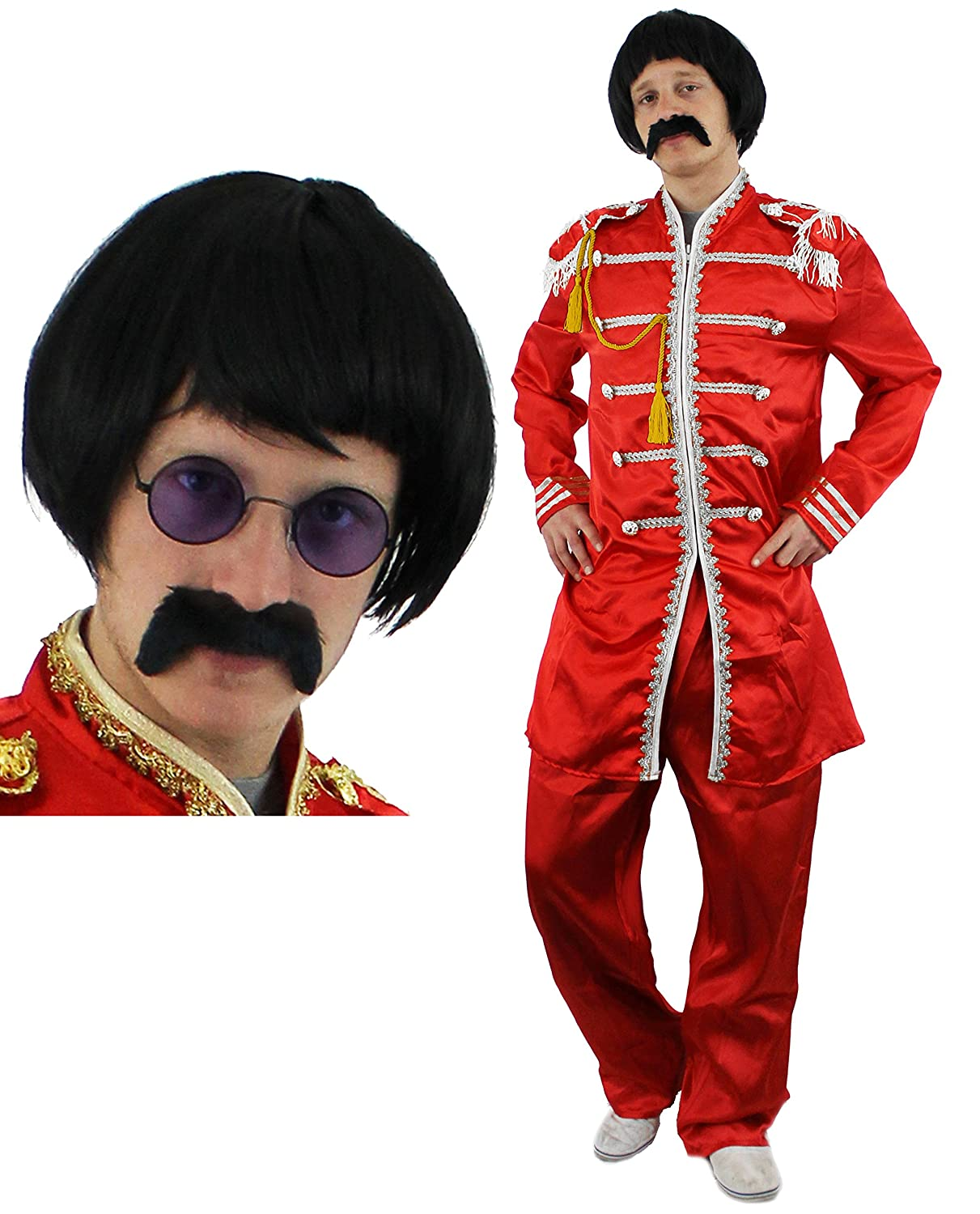 60'S POP SOLDIER FANCY DRESS COSTUME WITH BLACK WIG, TASH AND CIRCLE GLASSES. SUIT IN RED, PINK, BLUE OR GREEN SERGEANT PEPPER STYLE SGT PEPPER 1960S HIPPY IN SMALL - XLARGE EXCLUSIVE TO ILOVEFANCYDRESS