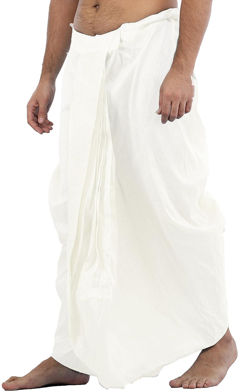 Maenner-Dhoti-Dupion-Silk-Plain-handgefertigt-fuer-Pooja-Casual-Hochzeit-Wear Indexbild 32