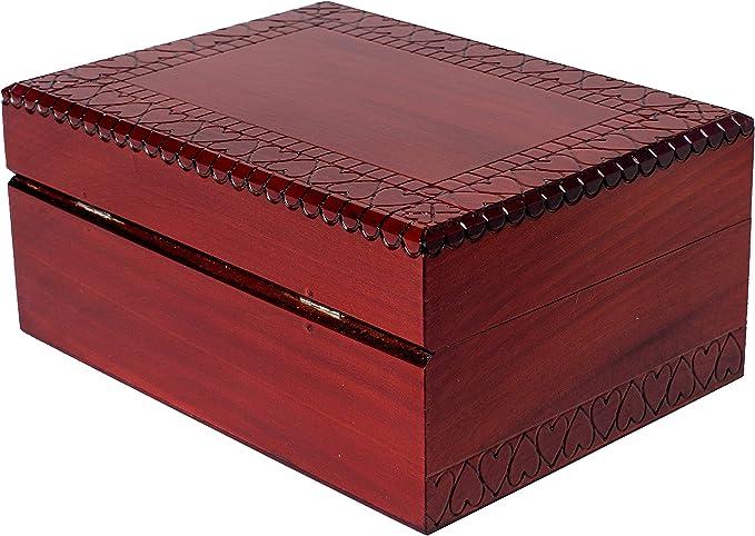 Uteruik Caja de joyer/ía vintage de madera hecha a mano con mini cerradura de metal para almacenar joyas y perlas del tesoro