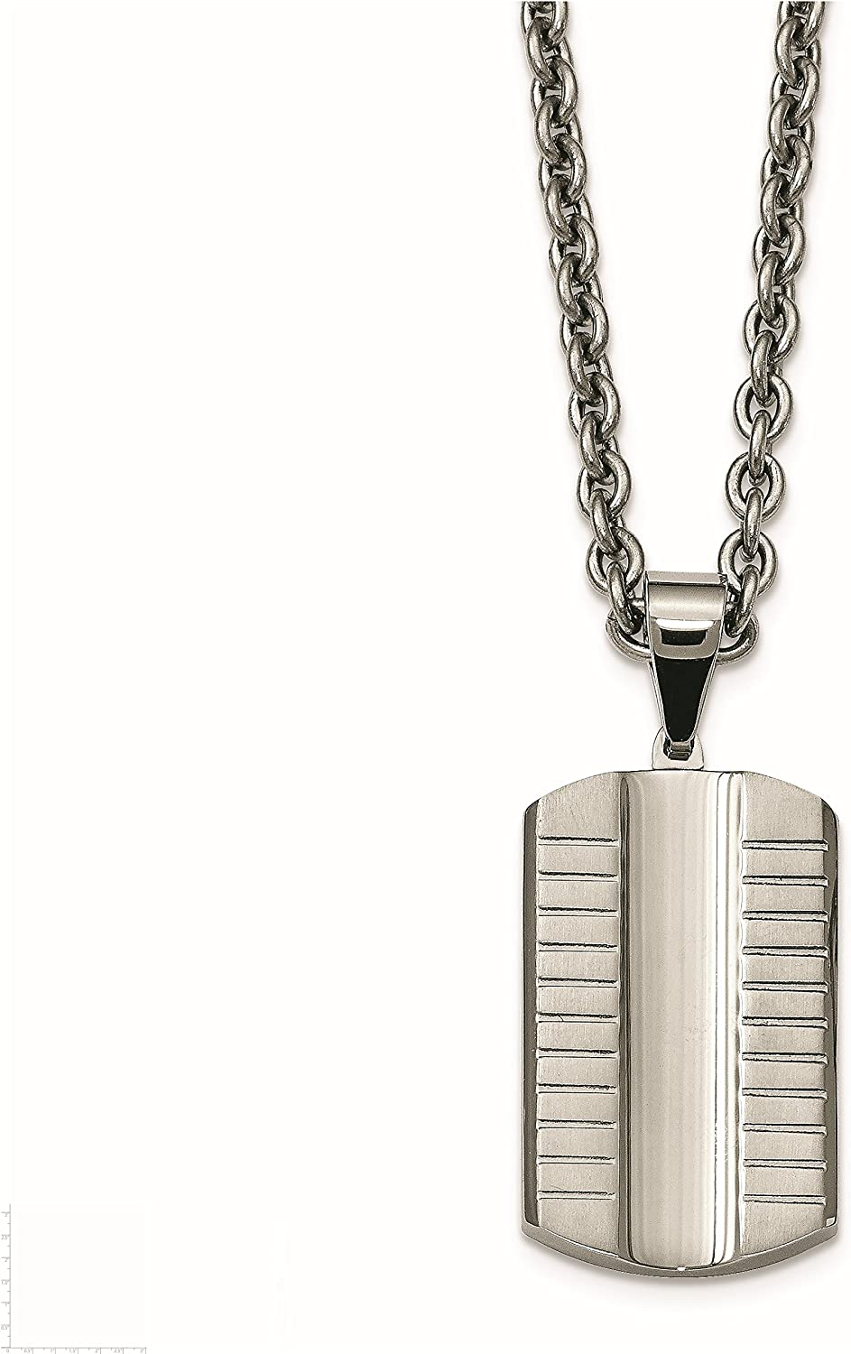 Stainless Steel Brushed Polished Grooved Concaved Dogtag Necklace 33x6mm 24 Inches