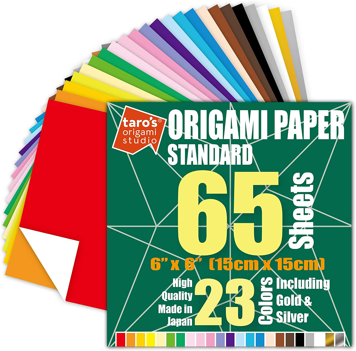 Taros Origami Studio TANT Large 10 Inch Double Sided 50 Colors 50 Sheets Square Easy Fold Premium Japanese Paper for Origami Artist from Beginner to Expert Made in Japan