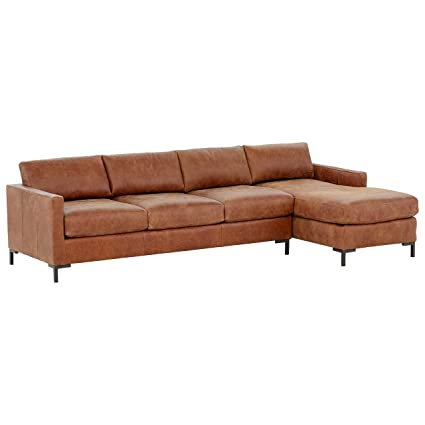 Awesome Rivet Edgewest Modern Right Facing Sofa Chaise Sectional Leather 115W Saddle Alphanode Cool Chair Designs And Ideas Alphanodeonline