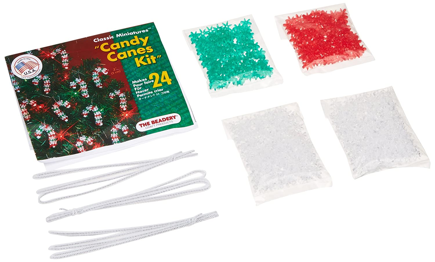 Beadery Holiday Beaded Ornament Kit, 2-Inch, Mini Candy Canes, Makes 24 Ornaments BOK-5501