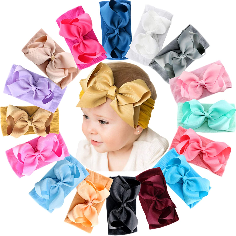 BABY GIRL BOUTIQUE LARGE 4 INCH SATIN BOW HEADBAND MANY COLOURS /& SIZES