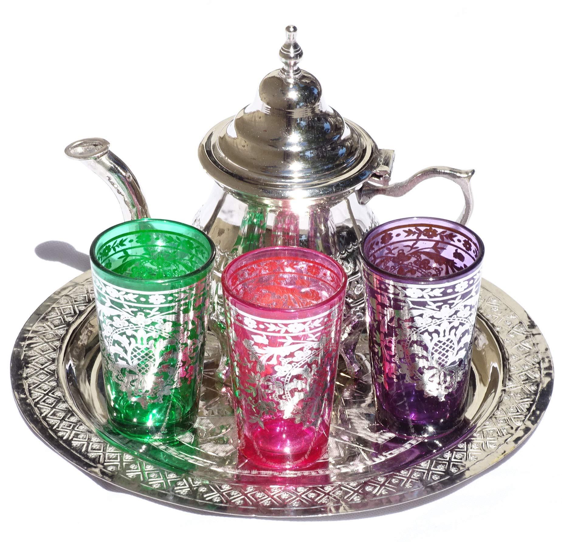 Engraved Tea Tray Moroccan Tea Set Set Of 6 Cups*NEW* Handmade Silver Teapot
