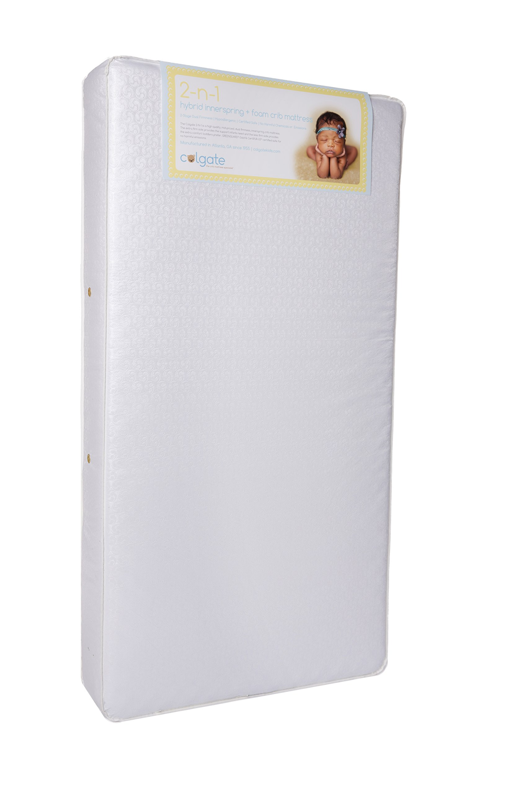 Colgate 2-N-1 Orthopedic Crib and Toddler Mattress - 51.6'' L x 27.2'' W x 6'' H, Innerspring Duel Firmness with Waterproof Cover, Hypoallergenic, Made in The USA by Colgate