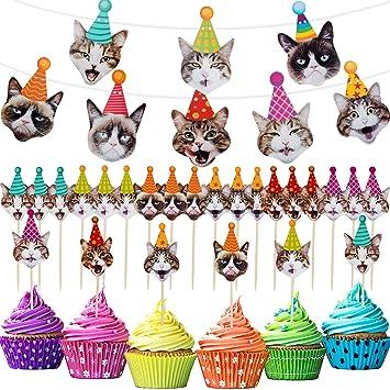 Boao 25 Piezas de Decoraciones para Fiestas de Gatos ...